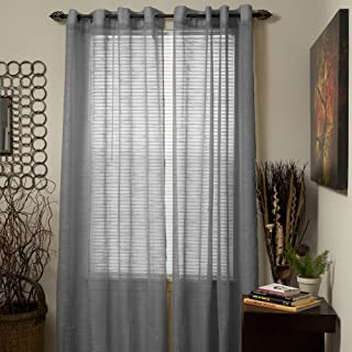 Bedford Home Mia Jacquard Grommet Single Curtain Panel, 84-Inch, Grey