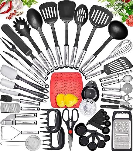 popular Home Hero Kitchen Utensil outlet online sale Set - Nylon 2021 Cooking Utensils - Kitchen Utensils with Spatula - Kitchen Gadgets Cookware Set - Kitchen Tool Set (44 Piece, Black) online sale