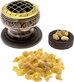 Alternative Imagination Premium Frankincense Burning Kit (with Tibetan Incense Burner or Brass Screen Burner) (Brass Burner)