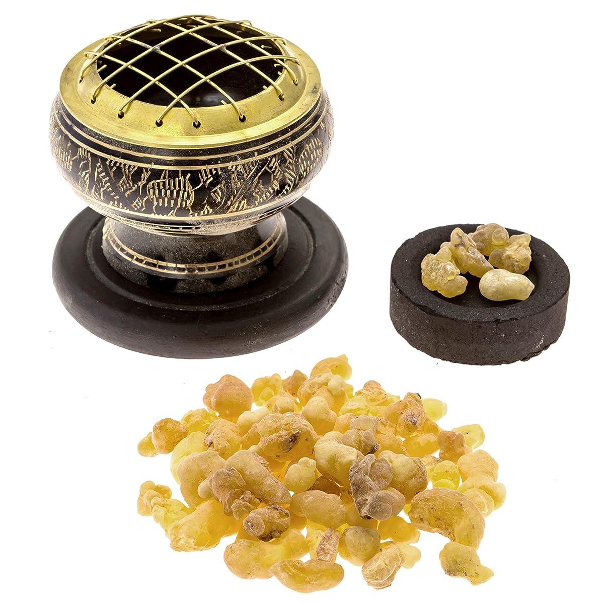 加入アピール肩をすくめるプレミアムFrankincense Burningキット( withチベット香炉または真鍮画面Burner ) (真鍮Burner )