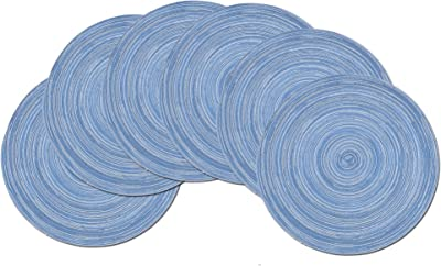 famibay 15 Inch Round Placemats Set of 6, Round Braided Place Mats for Dining Table Heat Insulation Cotton Kitcehn Table Mats(Blue)