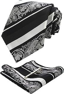 JEMYGINS Mens Floral Necktie and Pocket Square Tie Clip Sets for Men
