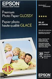 Epson Premium Photo Paper, 68 lbs, High-Gloss, 11 x 17, 20 Sheets/Pack