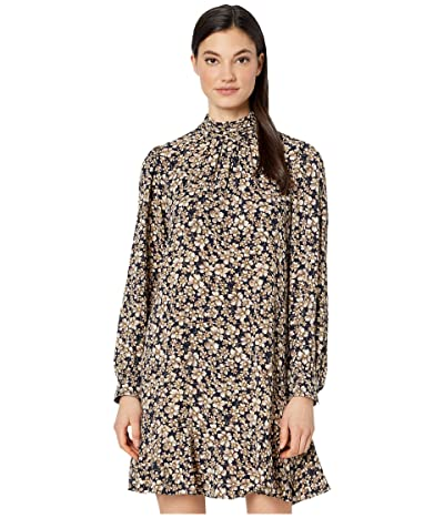 La Vie Rebecca Taylor Long Sleeve Giselle Dress (Navy/Citron) Women