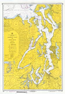 Map - Admiralty Inlet & Puget Sound, 1970 Nautical NOAA Chart - Washington (WA) - Vintage Wall Art - 32in x 44in