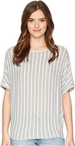 Madison Brushed Stripe Elbow Sleeve Boat Neck