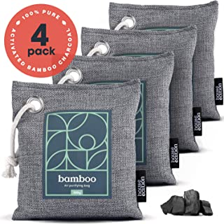 Bamboo Charcoal Air Purifying Bag 4-Pack – Naturally Freshen Air with Powerful Activated Charcoal Bags Odor Absorber – Kid...