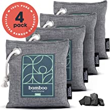 Bamboo Charcoal Air Purifying Bag 4-Pack � Naturally Freshen Air with Powerful Activated Charcoal Bags Odor Absorber � Kid and Pet-Friendly Air Fresheners for Home or Car by House Edition, 4x200g