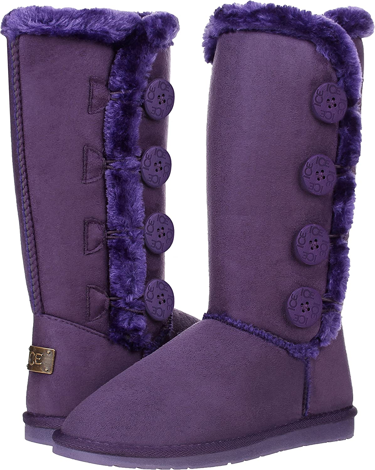 CLOVERLAY Women's Four Button Faux Fur Lined Shearling Mid Calf Winter Boots
