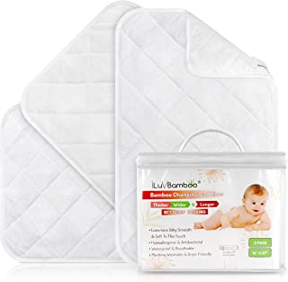 iLuvBamboo Changing Pad Liners – 3 Pack – Waterproof, Portable, Extra Soft, Thicker, Longer & Wider Changing Table Cover – Reusable & Washable - Best Diaper Change Mat for Baby Gifts & Showers