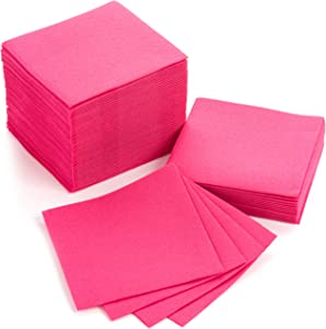 """American Homestead Cocktail Napkins - Small 4"""" x 4"""" Linen-Like Disposable Beverage/Bar Napkins - Bulk Square Napkins Eco-Friendly & Compostable - Everyday Use, Party or Wedding (100 Count, Fuchsia)"""