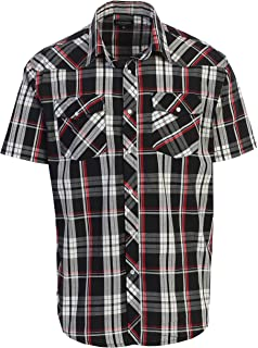 Gioberti Men's Short Sleeve Plaid Western Shirt W/Pearl Snap-on Buttons