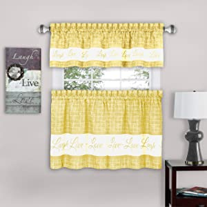 Achim Home Furnishings, Yellow Live, Love, Laugh Window Curtain Tier Pair and Valance Set, 58