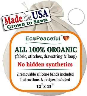 Nut Milk Bag - ALL 100% Organic Cotton (Fabric, Stitches, Drawstring & Loop) + 2 Silicone Bands for Easy & Tight Closing. DAIRY-FREE Recipes, Videos & Support