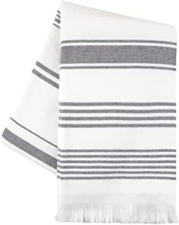 Sticky Toffee Hammam Cotton Beach Towel   Bath, Yoga, Fitness, Spa   Soft and Absorbent Terry   65 in x 35 in   Gray