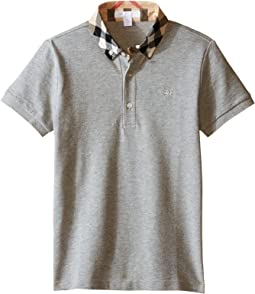 Short Sleeve Polo Shirt with Check Collar (Little Kids/Big Kids)