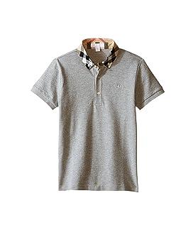 Short Sleeve Polo Shirt with Check Collar (Little Kids/Big Kids)