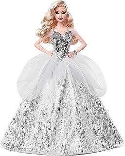 Barbie- Magia delle Feste 2021, Bambola Barbie con Capelli Biondi e Ondulati, Vestito Argentato, da Collezione, Giocattolo...