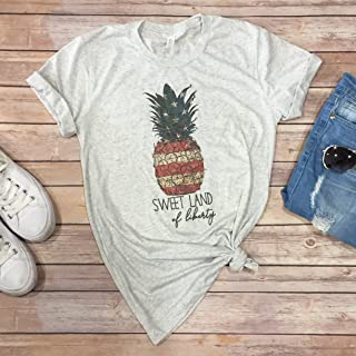 Womens 4th of July Tee Unisex Tshirt Patriotic Top Independce Day Tshirt Sweet Land Of Liberty Pineapple shirt