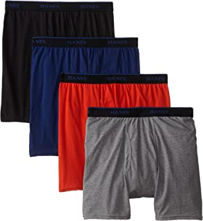 Hanes Ultimate Men's 4-Pack ComfortBlend Boxer Briefs with FreshIQ, Assorted, Large
