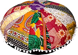 MyCrafts 32 Puff Multi Mandala Floor Pillow Cushion Seating Throw Cover Hippie Decorative Boho Kantha Floor Pouf Cover Only