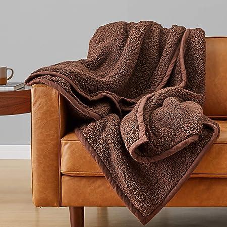 Amazonベーシック 毛布 ブランケット あたたかい ブラウン ウォームフリース シングルサイズ