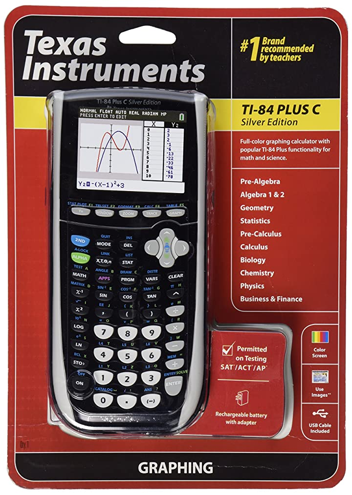 カラーグラフ電卓 Texas Instruments TI-84 Plus C Silver Edition  ■並行輸入品■ (ブラック)