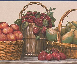 Fruit and Berry Baskets on Kitchen Table Beige Wallpaper Border Retro Design, Roll 15' x 9''