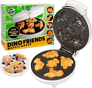 Dinosaur Mini Waffle Maker- Make Breakfast Fun and Cool for Kids and Adults with Novelty Pancakes- 5 Different Shaped Dinos in Minutes - Electric Non-Stick Waffler Iron
