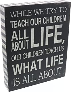 Barnyard Designs Our Children Teach Us What Life is All About Wooden Box Wall Art Sign, Primitive Country Farmhouse Home Decor Sign with Sayings 10