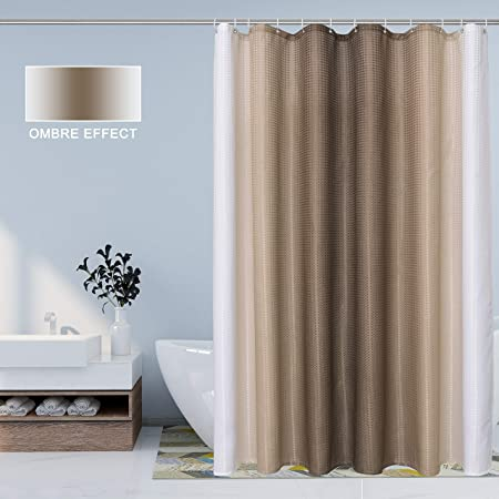 Bermino Ombre Textured Fabric Shower Curtain for Bathroom, 70 x 72 inch, Brown - Waterproof Cloth Gradient Bath Curtains with 12 Hooks