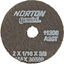 Norton Gemini Small Diameter Reinforced Abrasive Flat Cut-Off Wheel, Type 01, Aluminum Oxide, 3/8