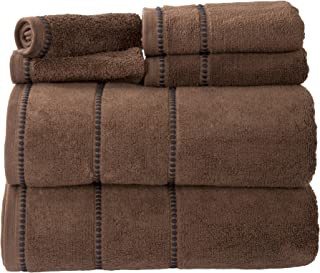 Luxury Cotton Towel Set- Quick Dry, Zero Twist and Soft 6 Piece Set With 2 Bath Towels, 2 Hand Towels and 2 Washcloths By Lavish Home (Chocolate)