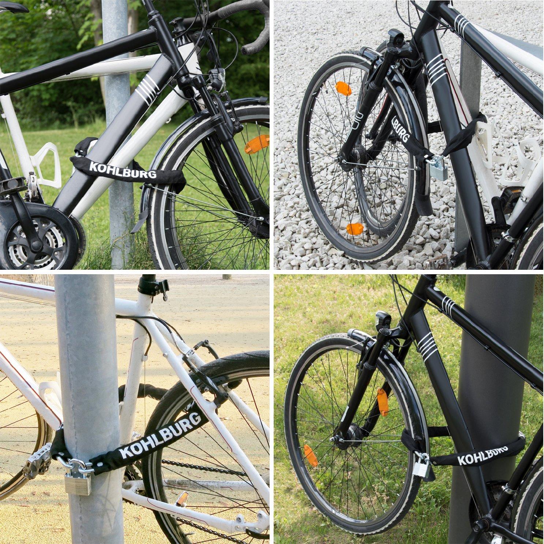 KOHLBURG candado de seguridad extralargo - 110 cm de longitud y 8 mm de grosor - Candado para bicicleta seguro con llave para bicicleta y bicicleta eléctrica: Amazon.es: Deportes y aire libre