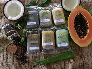 Fine Soaps Infused with 100% Natural and Organic Ingredients (6 Pack) for Sensitive Skin, Removing Acne Scars, Dark Spots, Uneven Skin Tone, Treating Eczema, Clogged Pores, Stretch Marks etc.