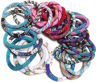 Wholesale - Random Mix of Nepal Glass Beaded Bracelets (Set of 6)