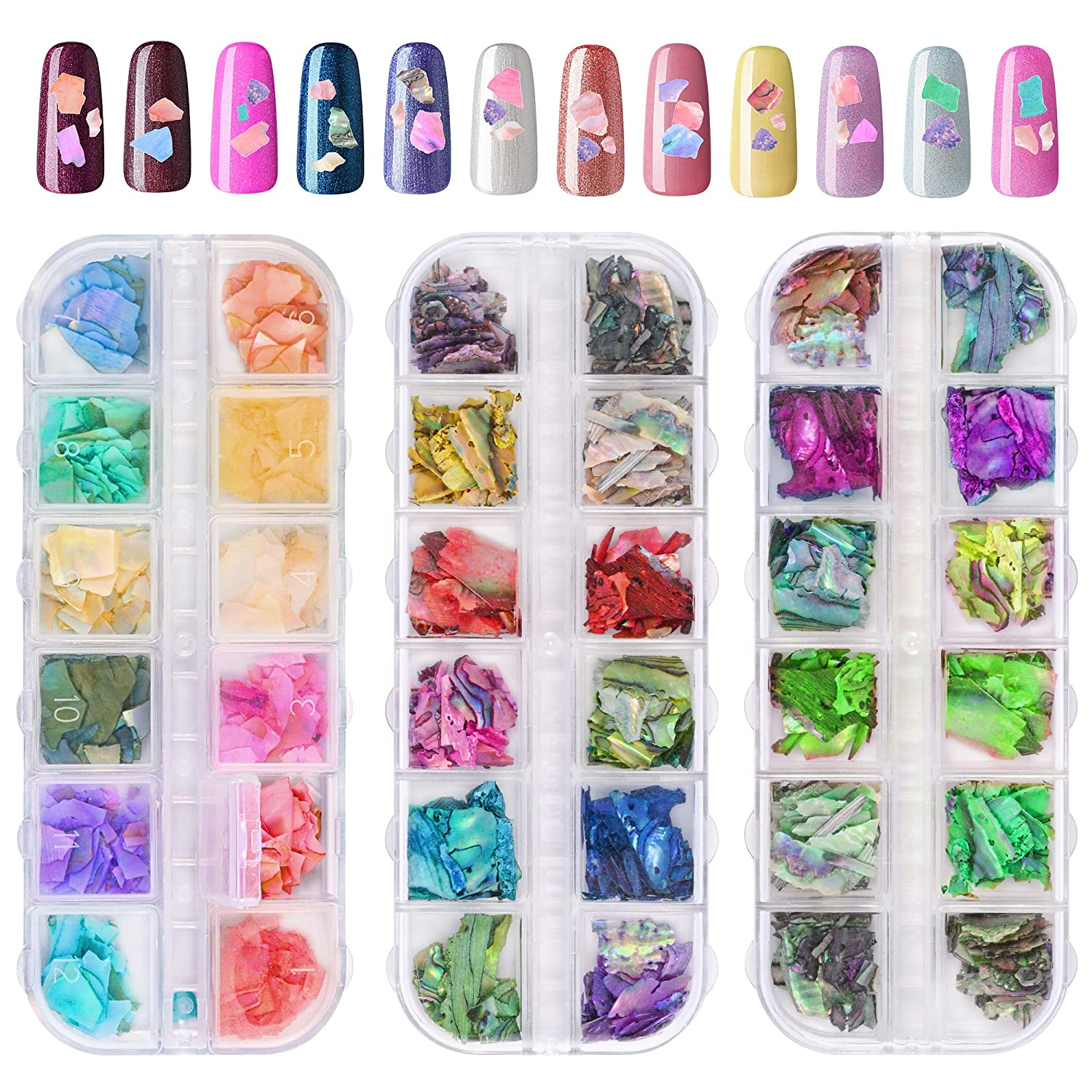 Limited Special Price ONNPNN 3 Boxes Nail Sale price Art Iridescen Glitter Seashell Shell Crushed