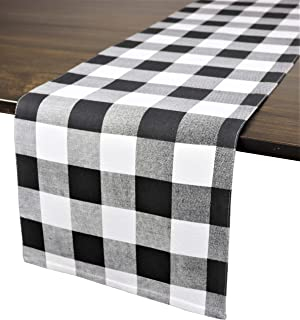 Crabtree Collection Deluxe Cotton Table Linens, Bright Colors for Kitchens and Dining Rooms - (Black Buffalo Check 12x72 Runner)