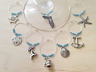 Florida Beach Themed Wine Charms, Gift for Floridian, beach themed, Set of 4 to Set of 8