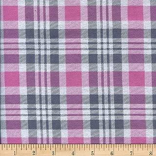 Newcastle Fabrics Printed Flannel Gabriel Plaid Pink/Grey Fabric by the Yard