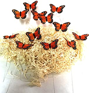 Artificial 3'' Monarch Butterflies on Wire Stems. Packs of 12- Size-3inch