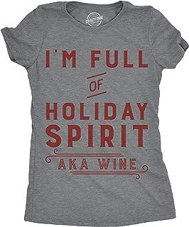 Crazy Dog T-Shirts Womens Im Funny of Holiday Spirit AKA Wine Tshirt Funny Christmas Drinking Tee for Ladies