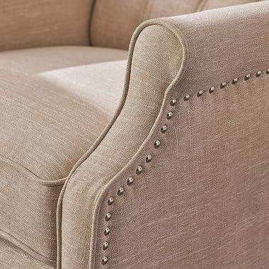 GDF Studio Elizabeth Tufted Fabric Recliner, Vintage Reclining Reading Armchair, Light Beige