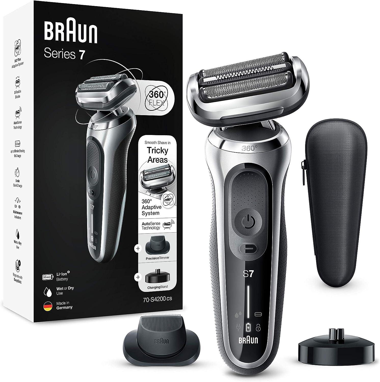 Braun Series 7 Afeitadora Eléctrica Hombre, Máquina de Afeitar Barba de Láminas con Recortadora de Precisión y Tecnología AutoSense, Base de Carga, Recargable, Inalámbrica, 70-S4200 CS, Plata