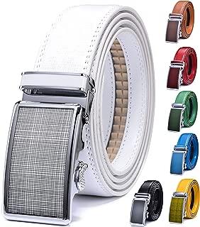 Men Belt,XGEEK Dress Ratchet Genuine Leather Belt Automatic Sliding Buckle - 7 Colors - Trim to Fit
