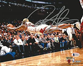Bulls Dennis Rodman Authentic Signed 8X10 Horizontal Diving Photo BAS Witnessed