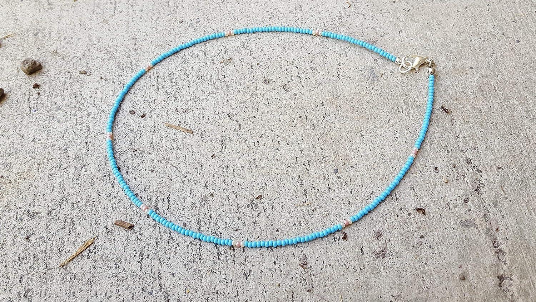 Handmade unisex custom length light blue pink ivory and seed choke bead 35% OFF