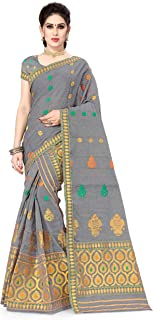 S Kiran's Women's Plain Weave Cotton Mekhela Chador Saree With Blouse Piece (NuniGrey3007GreenFanta_Grey)