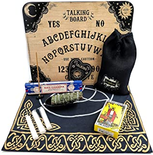 Deluxe Set Ouija Board Game with Original Rider Waite Tarot Deck, Triquetra Tarot Cloth & Cedar Sage Smudge Protection Set
