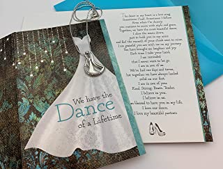 Smiling Wisdom - Dance of a Lifetime Love Letter Greeting Card Gift Set - Anniversary, Valentine's Day, Appreciation, Wife, Girlfriend - Man Woman Pendant Necklace, Car Ornament - Platinum Plated